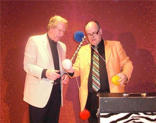 Picture shows Magician Gareth Jenkins with Rob Clark